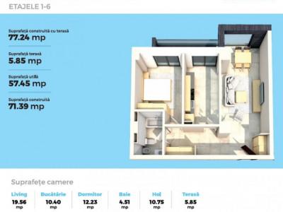 Apartamente 2 camere lux in complex rezidential 2021, comision 0%